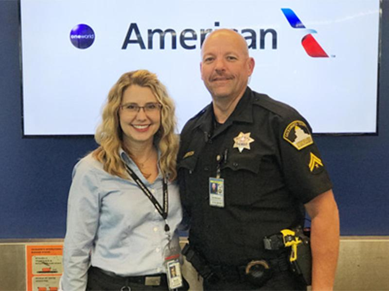 American Airlines agent Denice Miracle and Sheriff's Deputy Todd Sanderson: American Airlines