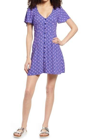 <p>There are four patterns of a short <span>BP Print Flutter Sleeve Skater Dress</span> ($39) to choose this spring, but the pretty purple caught our eye first. </p>