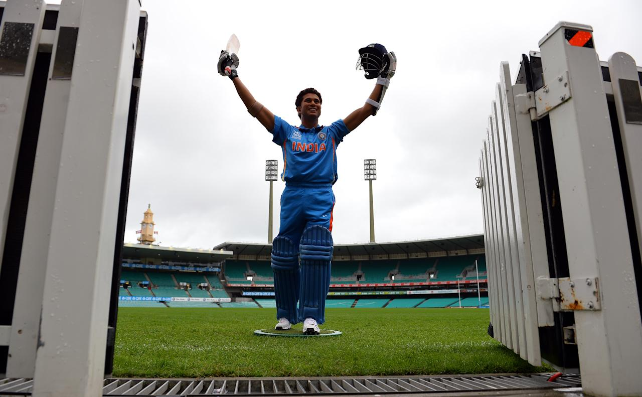 A wax figure of India's legendry cricket star Sachin Tendulkar is displayed at the Sydney Cricket Ground in Sydney on April 20, 2013. The new wax figure of Tendular will be placed in the sports zone of Madame Tussauds in Sydney.                       AFP PHOTO / Saeed Khan        (Photo credit should read SAEED KHAN/AFP/Getty Images)