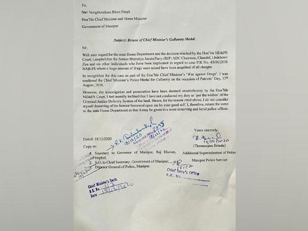 ASP Thounaojam Brinda's letter to Chief Minister N Biren Singh (Photo/ANI)