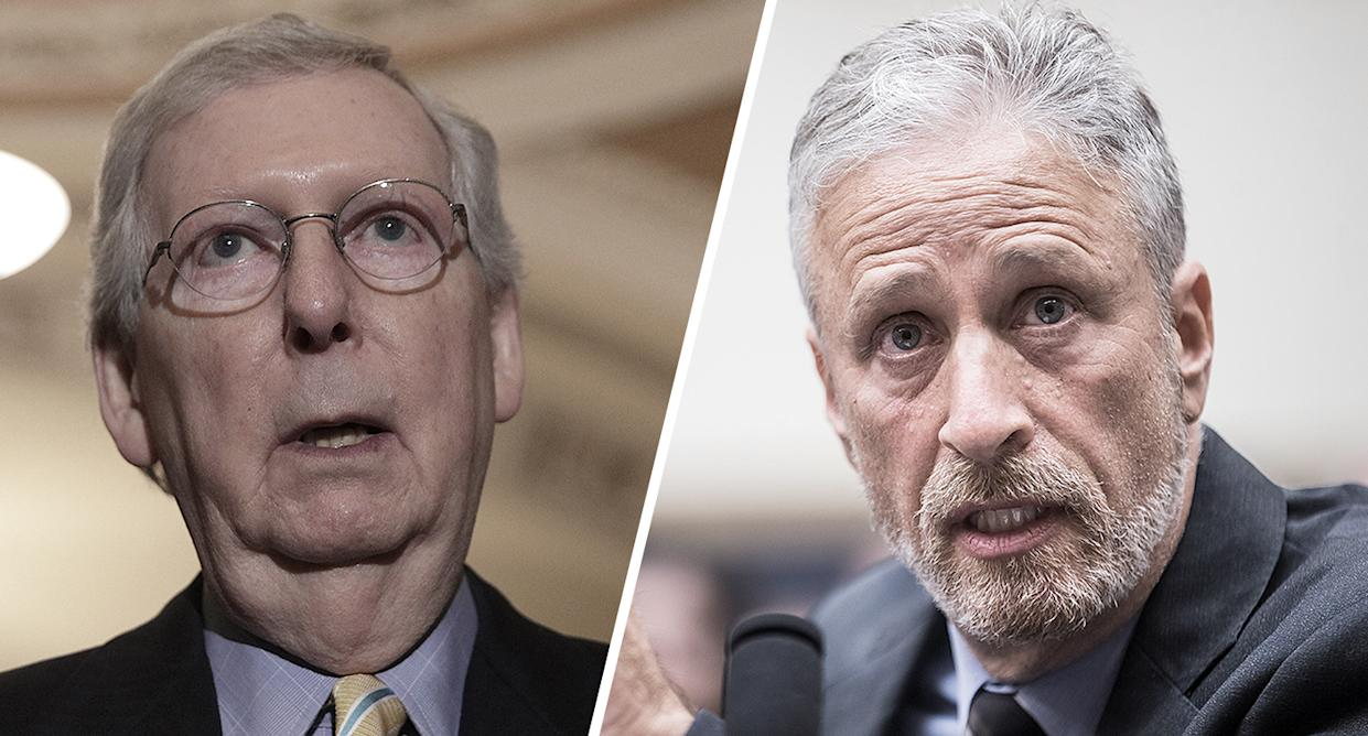 """U.S. Senate Majority Leader Mitch McConnell and former """"Daily Show"""" host Jon Stewart. (Photos: Alex Wong/Getty Images, Zach Gibson/Getty Images)"""