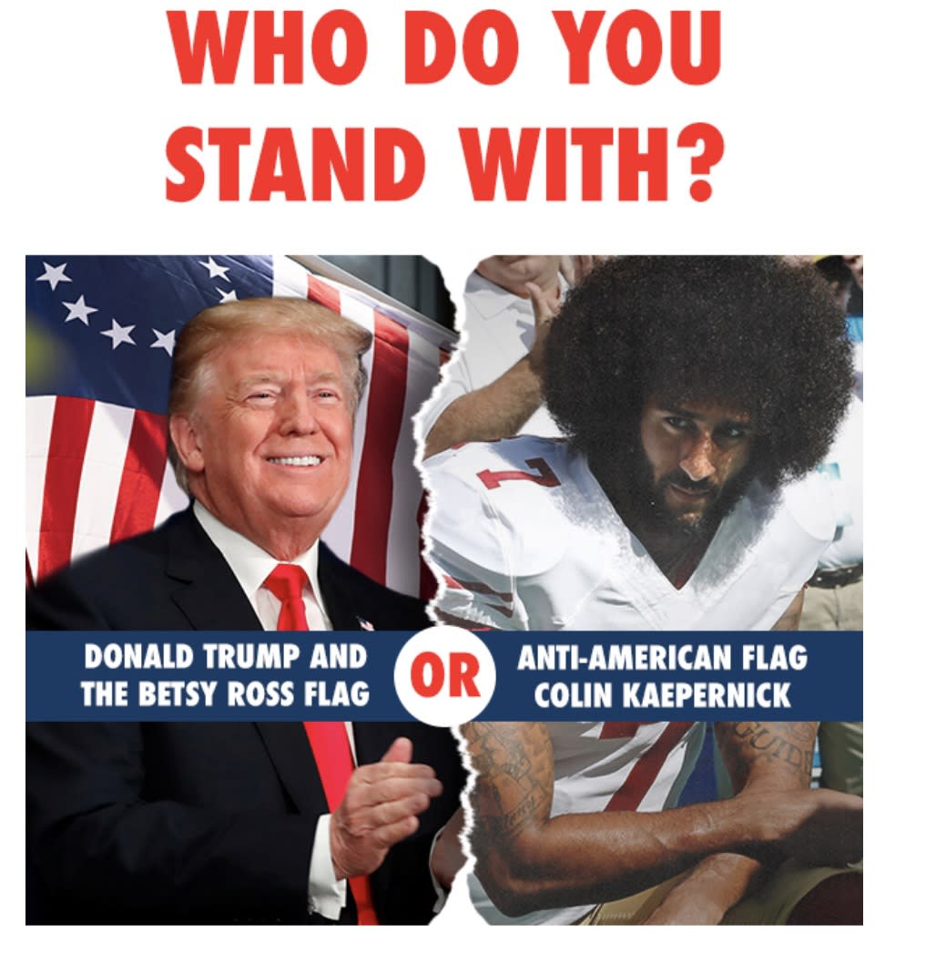 Photos of President Trump and Colin Kaepernick as they appeared in a National Republican Congressional Committee fundraising email. (Photo: via NRCC)