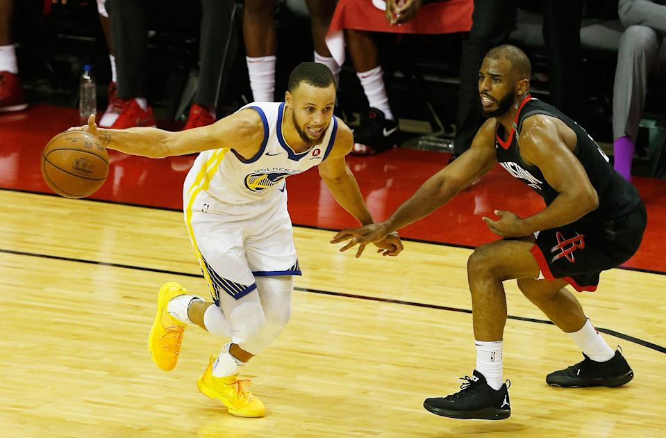 Stephen Curry and Chris Paul went at it in Game 5 Thursday night. (AP)