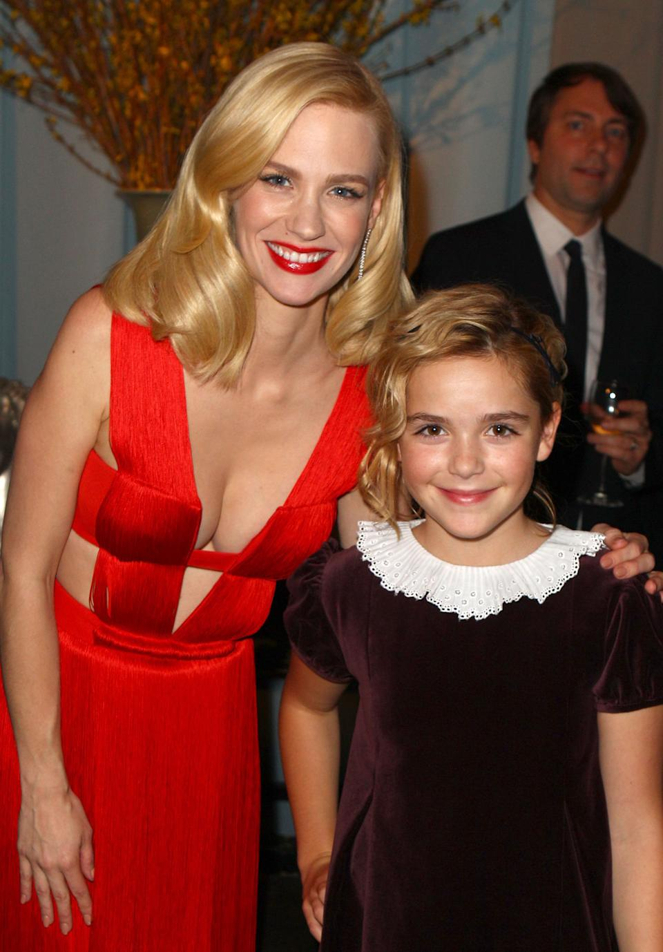 January Jones and Kiernan Shipka attend AMC's 2011 Golden Globe Awards viewing and after party held at The Beverly Hilton hotel on January 16, 2011 in Los Angeles, California.
