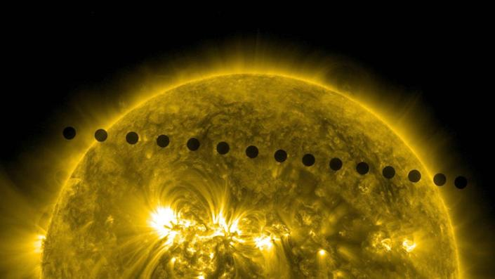 "<span class=""caption"">On June 5-6, 2012, NASA's Solar Dynamics Observatory collected images of one of the rarest predictable solar events: the transit of Venus across the face of the Sun. </span> <span class=""attribution""><a class=""link rapid-noclick-resp"" href=""https://www.nasa.gov/multimedia/imagegallery/image_feature_2271.html"" rel=""nofollow noopener"" target=""_blank"" data-ylk=""slk:NASA/SDO, AIA"">NASA/SDO, AIA</a></span>"
