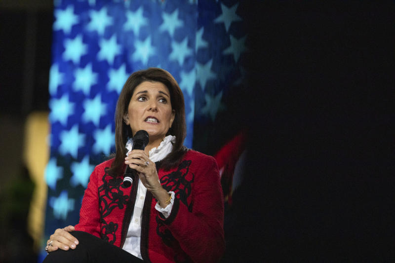 Former Gov. of South Carolina and UN Ambassador under President Donald Trump,  Nikki Haley speaks to students during convocation at Liberty University on Friday, Nov. 15, 2019 at the Vines Center in Lynchburg, Va.  (Emily Elconin/The News & Advance via AP)