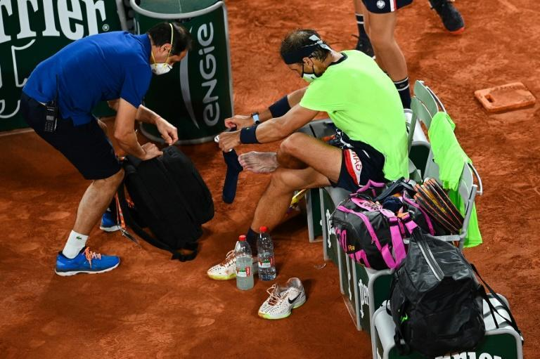 Treatment time: Rafael Nadal late in the fourth set