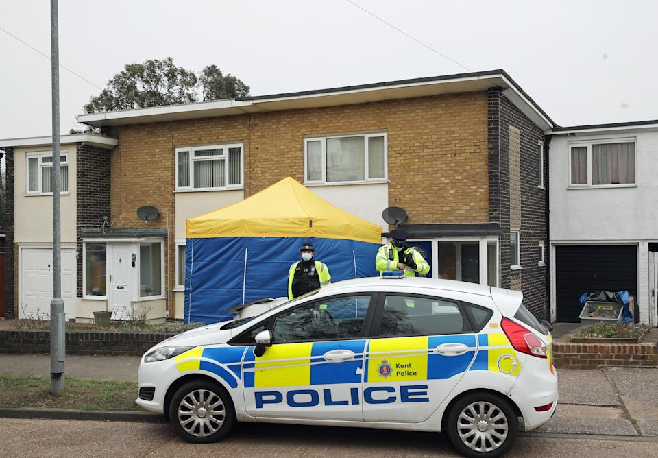 Police have set up a tent at a property in Deal, Kent. (PA)