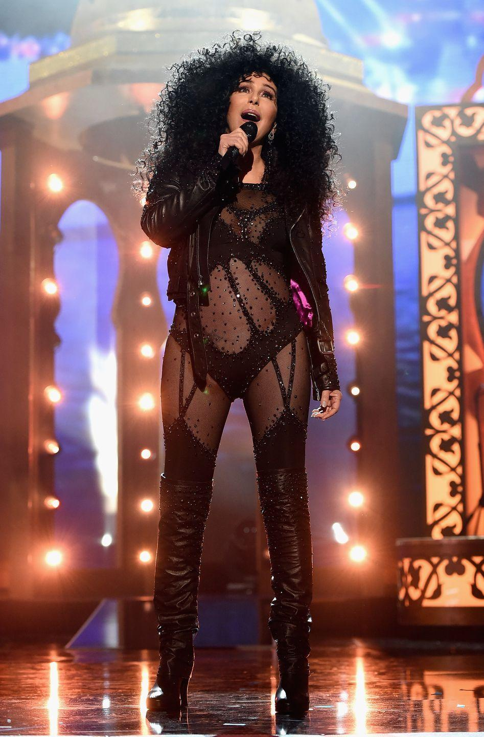 <p>Wearing her iconic cutout bodysuit and leather jacket once again to perform at the Billboard Music Awards in 2017 (yes at 71 years old). </p>