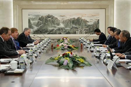 Chinese FM Wang Yi meets with U.S. executive vice president and head of International Affairs at the Chamber of Commerce in Beijing
