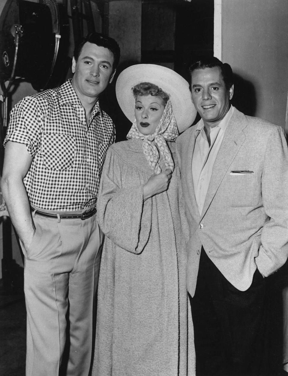 <p>In a star lineup, Hudson posed with Lucille Ball and Desi Arnaz. The pair, of <em>I Love Lucy </em>fame, were some of the most notable comedy icons of the era. </p>