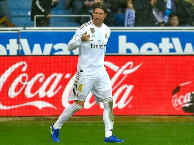 Sergio Ramos scored the opening goal for Real Madrid in their 2-1 win over Alaves on Saturday. (AFP Photo/ANDER GILLENEA)