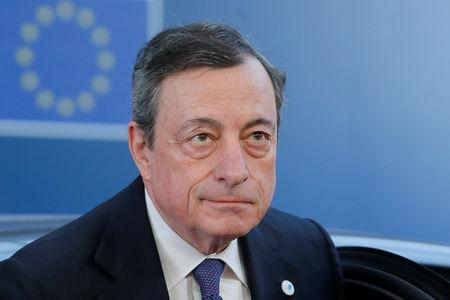 ECB President Draghi arrives at a European Union leaders summit in Brussels
