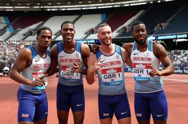 Great Britain's 4x100m men's relay team celebrate their victory in London