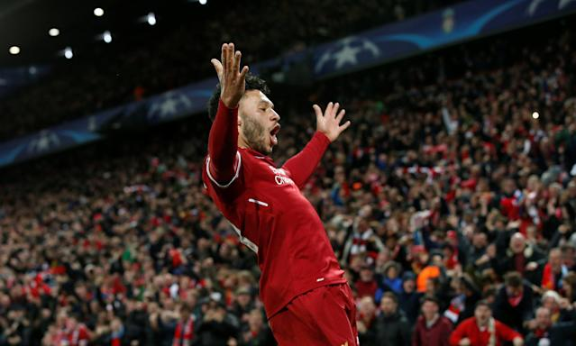 <p>Soccer Football – Champions League Quarter Final First Leg – Liverpool vs Manchester City – Anfield, Liverpool, Britain – April 4, 2018 Liverpool's Alex Oxlade-Chamberlain celebrates scoring their second goal REUTERS/Andrew Yates </p>