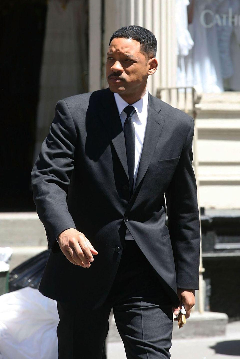 <p>Will Smith is seen on the movie set of <em>Men in Black III </em>on May 10, 2011 in New York City.</p>