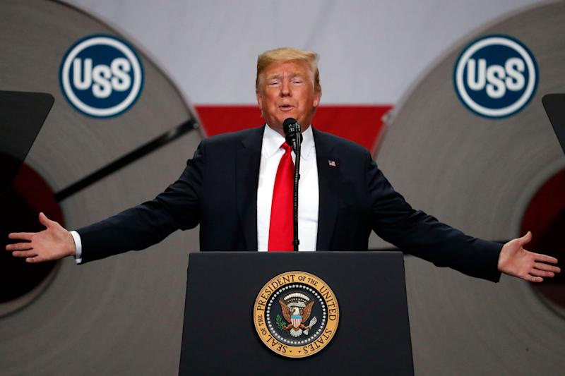 "FILE- In this July 26, 2018, file photo President Donald Trump speaks at the United States Steel Granite City Works plant in Granite City, Ill. The president frequently boasts that the taxes he's imposed on imports, steel and aluminum and nearly half of all goods from China, have showered the U.S. Treasury with newfound revenue. ""We are right now taking in $billions in Tariffs,'' Trump tweeted last month. ""MAKE AMERICA RICH AGAIN.'' Yet the fact is that tariffs like Trump's account for barely 1 percent of federal revenue. (AP Photo/Jeff Roberson, File)"