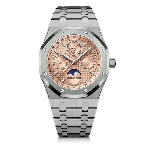 """<p>Royal Oak Perpetual Titanium & Salmon </p><p><a class=""""link rapid-noclick-resp"""" href=""""https://www.audemarspiguet.com/com/en/watch-collection/royal-oak/26615TI.OO.1220TI.01.html"""" rel=""""nofollow noopener"""" target=""""_blank"""" data-ylk=""""slk:SHOP"""">SHOP</a></p><p>AP's titanium perpetual calendar: big in Japan. So much so, that it was only available in far eastern markets for quite some time. But now, this metallic showpiece has hit the boutiques around here – and there's every reason to believe it'll be just as big.</p><p>First and foremost: the salmon dial. A shade seldom seen on Swiss watches (and one not to be confused with rose gold), the detailed front caps an impressive calibre that's outfitted many more AP specialities – and almost all of them, like this unusual Royal Oak, are limited edition. Move quick to get your hands on one of the 300 (or trawl Japanese resale sites, your choice).</p><p>£61,000; <a href=""""https://www.audemarspiguet.com/com/en/watch-collection/royal-oak/26615TI.OO.1220TI.01.html"""" rel=""""nofollow noopener"""" target=""""_blank"""" data-ylk=""""slk:audemarspiguet.com"""" class=""""link rapid-noclick-resp"""">audemarspiguet.com</a></p>"""