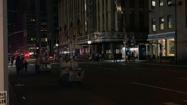 PHOTO: The lights were dark at Radio City Music Hall in New York City after a power outage affected large parts of Manhattan on Saturday, July 13, 2019. (ABC News)