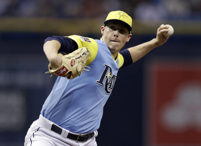 Tampa Bay Rays pitcher Ryan Yarbrough delivers to the Boston Red Sox during the first inning of a baseball game Saturday, Aug. 25, 2018, in St. Petersburg, Fla. (AP Photo/Chris O'Meara)