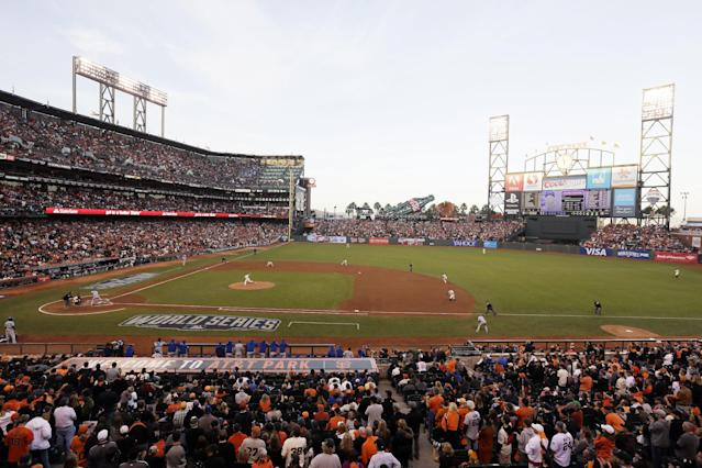 San Francisco Giants pitcher Madison Bumgarner throws during the third inning of Game 5 of baseball's World Series against the Kansas City Royals Sunday, Oct. 26, 2014, in San Francisco. (AP Photo/Eric Risberg)
