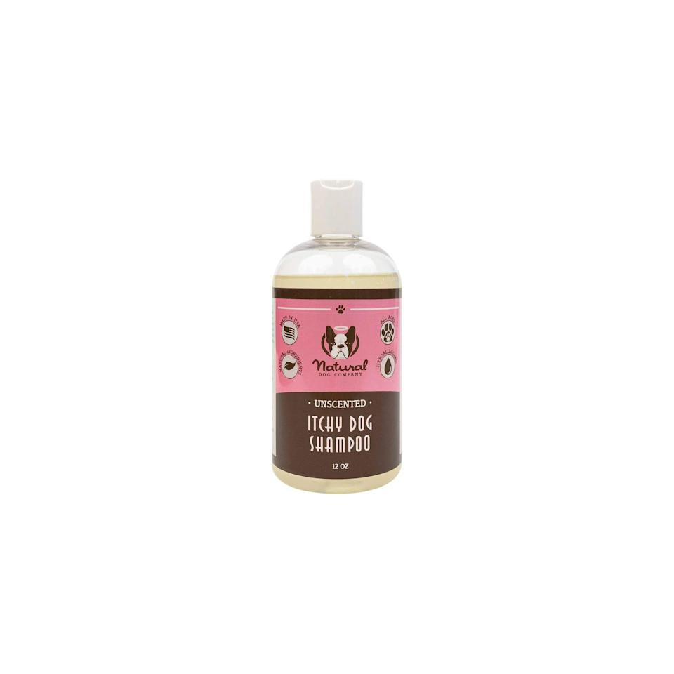 """<p><strong>Natural Dog Company </strong></p><p>amazon.com</p><p><strong>$17.95</strong></p><p><a href=""""https://www.amazon.com/dp/B00W1QTOJY?tag=syn-yahoo-20&ascsubtag=%5Bartid%7C2164.g.36563635%5Bsrc%7Cyahoo-us"""" rel=""""nofollow noopener"""" target=""""_blank"""" data-ylk=""""slk:Shop Now"""" class=""""link rapid-noclick-resp"""">Shop Now</a></p><p>This unscented dog shampoo tackles irritation and helps soothe skin. While gentle enough for the youngest puppies, it works well for dogs of all ages too. </p>"""