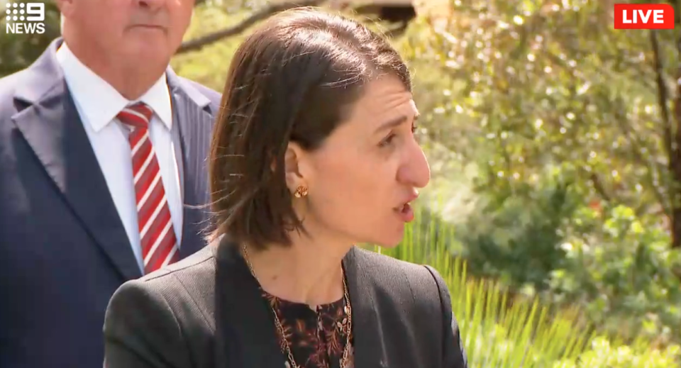 Gladys Berejiklian turns to have a go at a reporter who interrupted her during a press conference in Sydney.