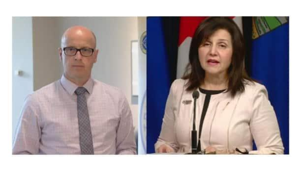 Alberta Teachers' Association president Jason Schilling (left) said he is concerned about a lack of new money for implementing a new K-12 curriculum in Alberta's proposed budget. Education Minister Adriana LaGrange (right) says the cost of developing resources, tests and training teachers will not come from school divisions, but it's unclear where the money is being diverted from in the flat education budget. (Jordan Mesiatowsky and Scott Neufeld/CBC - image credit)