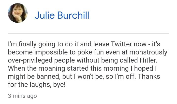 A screenshot of a tweet post by former Telegraph journalist Julie Burchill who was fired after posting a 'racist' tweet about Prince Harry and Meghan Markle's daughter, Lili
