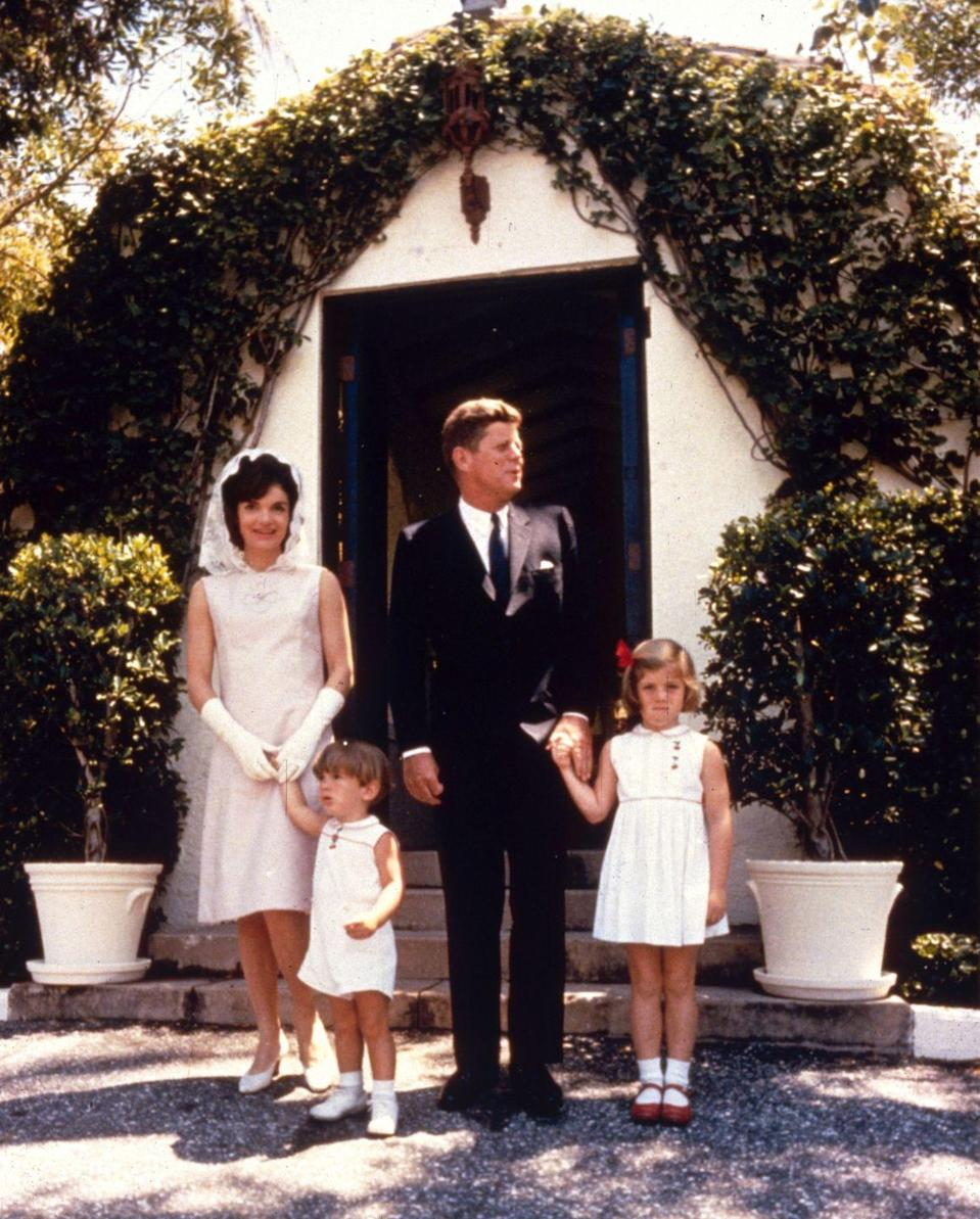 <p>The First Family attend Mass in Palm Beach on Easter Sunday, shortly after announcing that Jackie was pregnant. </p>