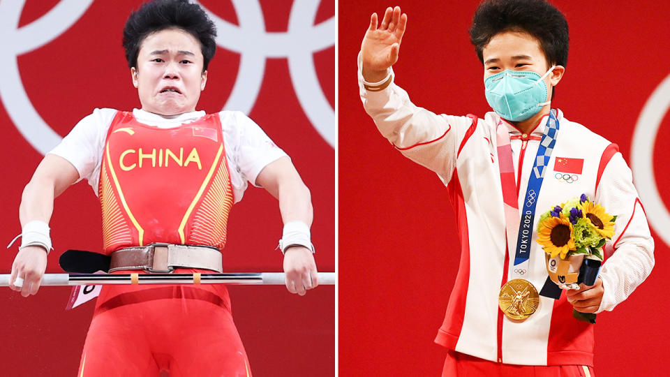 Hou Zhihui, pictured here winning weightlifting gold at the Olympics.