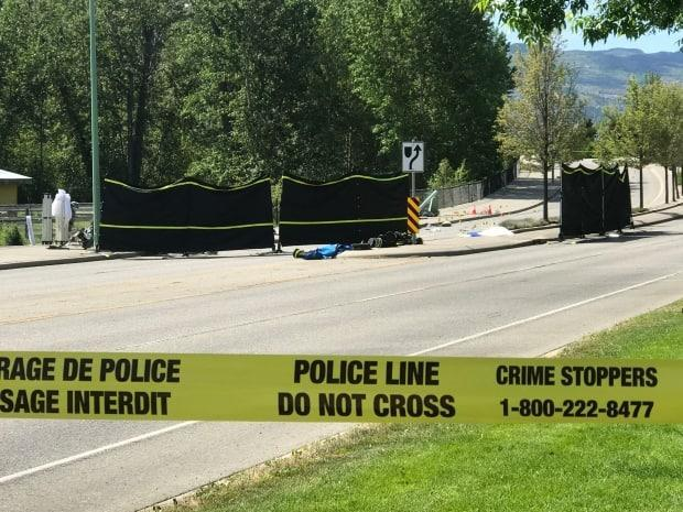 Three high school students died in a single-vehicle crash in Kelowna, B.C., just after midnight. (CBC News - image credit)