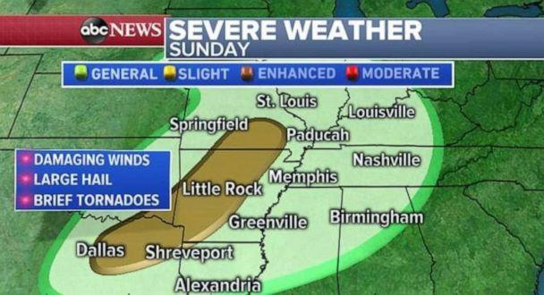 PHOTO: Severe weather is possible from Dallas, through Little Rock, Ark., and to southern Missouri on Sunday. (ABC News)