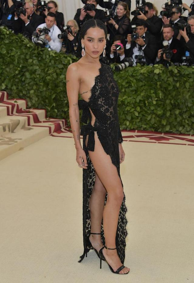 <p>Zoe Kravitz is nearly undressed in a Saint Laurent dress, that resembles a veil. (Photo: Getty Images) </p>