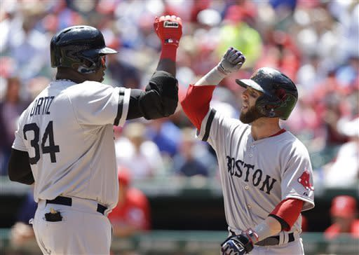 Boston Red Sox designated hitter David Ortiz (34) celebrates his two-run home run with teammate Dustin Pedroia during the first inning of a baseball game against the Texas Rangers, Sunday, May 5, 2013, in Arlington, Texas. (AP Photo/LM Otero)