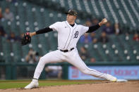 Detroit Tigers pitcher Tarik Skubal throws against the Chicago Cubsin the second inning of a baseball game in Detroit, Friday, May 14, 2021. (AP Photo/Paul Sancya)