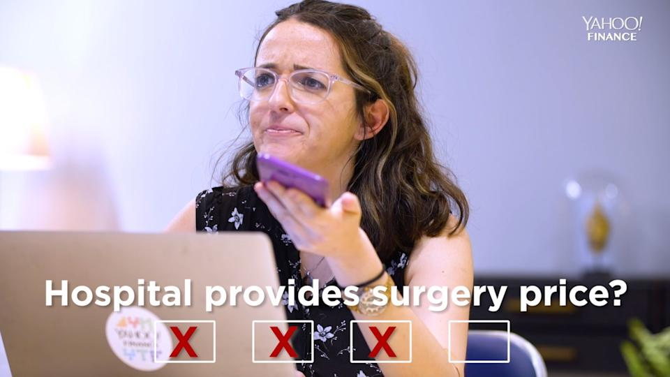 Yahoo Finance's Adriana Belmonte calling local hospitals in an attempt to find out how much a tonsillectomy would cost. (Photo: Yahoo Finance)