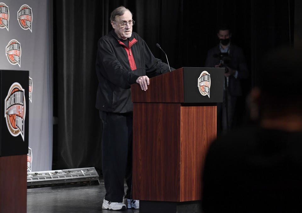 Basketball Hall of Fame Class of 2021 inductee Rick Adelman speaks at a news conference at Mohegan Sun, Friday, Sept. 10, 2021, in Uncasville, Conn. (AP Photo/Jessica Hill)