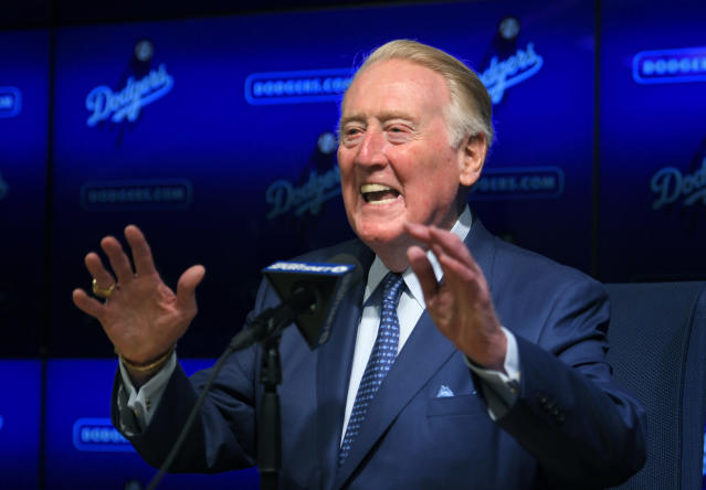 Legendary broadcaster Vin Scully once had to sell Branch Rickey on his worth. (AP Photo)