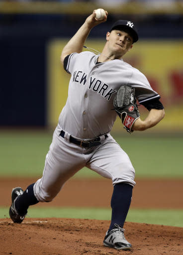 New York Yankees' Sonny Gray pitches to the Tampa Bay Rays during the first inning of a baseball game Saturday, June 23, 2018, in St. Petersburg, Fla. (AP Photo/Chris O'Meara)