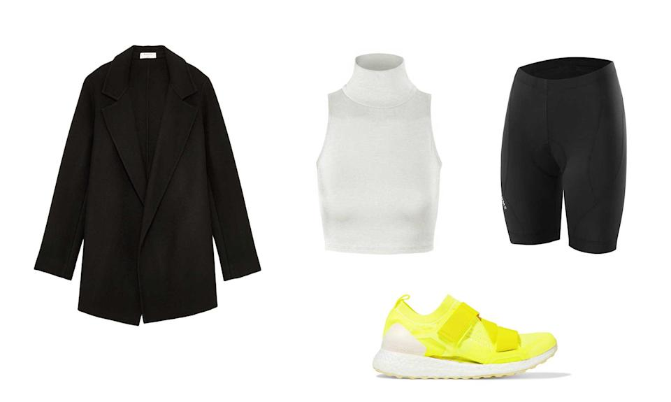 """<p>Even the minimalist in you can incorporate neon into a daily outfit. If socks and sandals aren't your thing and you're more into athleisure, replace your go-to kicks with a neon pair. A pair of vibrant sneakers can go a long way: matching your leggings effortlessly and even the new cycling shorts that you're not actually wearing to go cycling.<br>Adidas by Stella McCartney, Ultraboost x Neon Prime Knit Sneakers, $220, <a rel=""""nofollow noopener"""" href=""""https://fave.co/2OzZ6sh"""" target=""""_blank"""" data-ylk=""""slk:netaporter.com"""" class=""""link rapid-noclick-resp"""">netaporter.com</a><br>Babaton, Winfred Jacket, $298, <a rel=""""nofollow noopener"""" href=""""https://www.aritzia.com/us/en/product/winfred-jacket/68673.html?dwvar_68673_color=1274"""" target=""""_blank"""" data-ylk=""""slk:aritzia.com"""" class=""""link rapid-noclick-resp"""">aritzia.com</a><br>Nooyme, Women's Bike Shorts for Cycling, $24.99, <a rel=""""nofollow noopener"""" href=""""https://fave.co/2NRnisS"""" target=""""_blank"""" data-ylk=""""slk:amazon.com"""" class=""""link rapid-noclick-resp"""">amazon.com</a><br>Kogmo, Women's Lightweight Fitted Sleeveless Turtleneck Crop Top with Stretch, $11.99, <a rel=""""nofollow noopener"""" href=""""https://fave.co/2NUb56J"""" target=""""_blank"""" data-ylk=""""slk:walmart.com"""" class=""""link rapid-noclick-resp"""">walmart.com</a> </p>"""