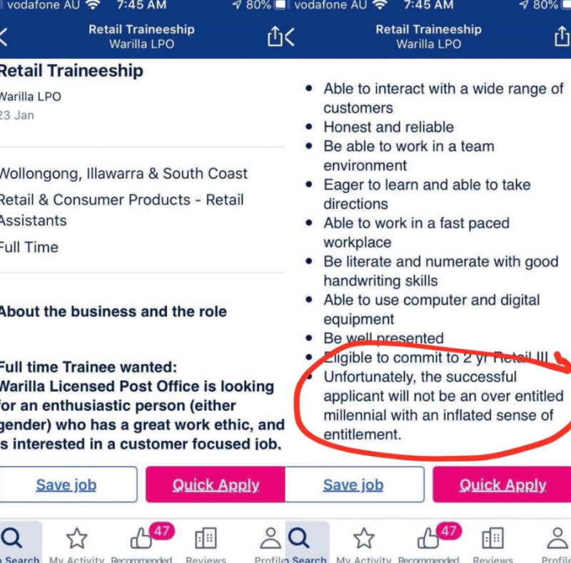 The job listing was copied and posted on social media, causing a stir online. Source: Reddit