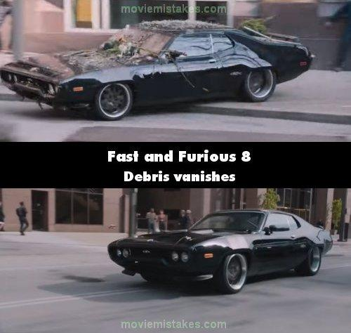 """<p>Dom escapes his crew by crashing through a flower stall, leaving flowers and other debris on his car. Just seconds later we see his car again and it's pristine – it looks like it's just been washed. (<a rel=""""nofollow"""" href=""""https://www.moviemistakes.com/"""">MovieMistakes.com</a>) </p>"""