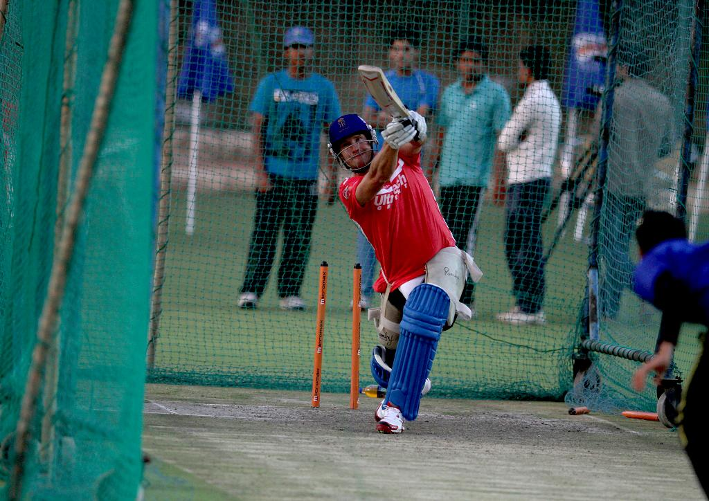 Rajasthan Royals' Shane Watson during a net session at Sawai Mansingh Stadium in Jaipur on Sunday_1
