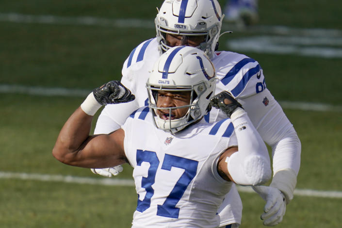 Indianapolis Colts strong safety Khari Willis (37) celebrates after sacking Pittsburgh Steelers quarterback Ben Roethlisberger during the first half of an NFL football game, Sunday, Dec. 27, 2020, in Pittsburgh. (AP Photo/Gene J. Puskar)