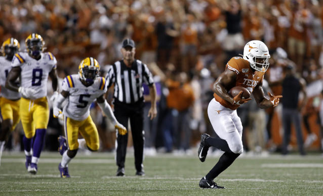 Texas Longhorns wide receiver Devin Duvernay #6, runs to the end zone for a touchdown against the LSU Tigers, Saturday Sept. 7, 2019 at Darrell K Royal-Texas Memorial Stadium in Austin, Tx. ( Photo by Edward A. Ornelas )