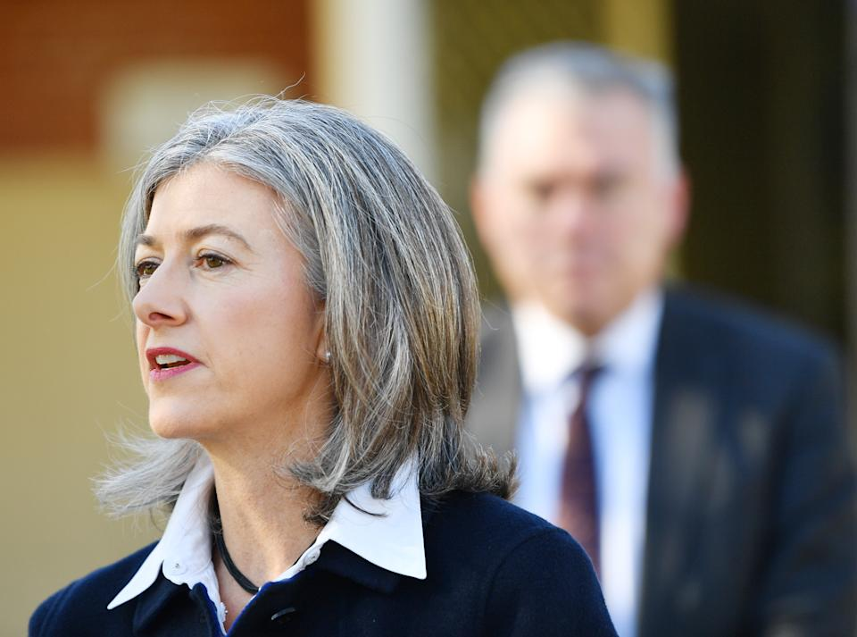 Professor Nicola Spurrier speaks to the media during a press conference at a COVID-19 mobile testing site. Source: AAP