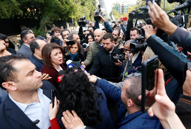 Lebanese Caretaker Interior Minister Raya al-Hassan speaks to journalists in Beirut