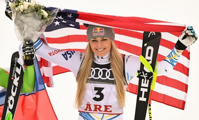 """<span class=""""element-image__caption"""">Lindsey Vonn celebrates her podium place in her final ever race. She retires with 82 World Cup wins, a women's record. </span> <span class=""""element-image__credit"""">Photograph: François-Xavier Marit/AFP/Getty Images</span>"""