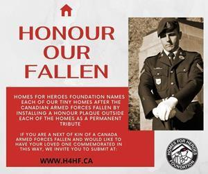 Homes For Heroes is now accepting submissions for honor plaques.